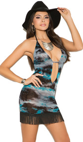 Tie dye mini dress with halter neck, plunging neckline, and fringe trim.