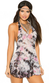 Lace tie dye mini dress with a halter neck and matching G-String. Two piece set.