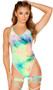 Tie dye velvet romper with u neckline, spaghetti straps, high cut on the leg and low cut back. Crotch area is lined, does not open.