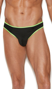 Men's thong with contrast neon green trim.
