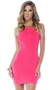 High collar halter bodycon mini sleeveless dress with open back and strappy adjustable tie closures.