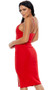 Sleeveless midi dress featues a V-wire sweetheart neckline, thigh slit and adjustable straps.