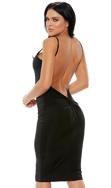Sleeveless V-neck midi dress with plunging open back and knot detail.