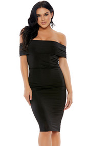 Mid length short sleeve dress with off the shoulder detail.