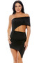 Strapless one shoulder tube dress with side cutout and asymmetrical hem.