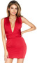 Convertible mini dress with versatile straps for multi-tie options. Can be worn as sleeveless or short sleeves, plunging neckline or high halter neck, criss cross straps or one strap.