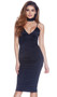 Sleeveless V neck bodycon midi dress with triangle cups, adjustable straps and zipper back.