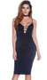 Sleeveless midi dress with plunging neckline, strappy chest details, adjustable shoulder straps and zipper back.