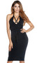 Sleeveless halter midi dress with criss cross straps and metal O-ring detail over plunging neckline.