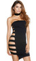 Strapless tube dress with open sides, strappy side panels and asymmetrical hem.