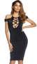 Open front bodycon midi dress features high collar with button closure, suspended sleeves, front lace up detail with o rings, and open back with zipper closure.