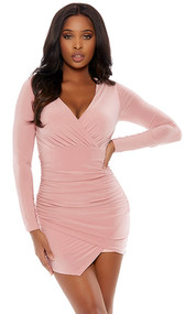 Long sleeve bodycon surplice mini dress with plunging neckline and wrap hem.