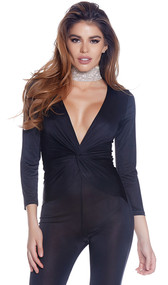Capri jumpsuit with three quarter sleeves, plunging V neckline, and gathered front with knot detail.