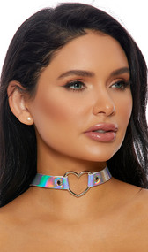 Hologram choker with silver heart ring detail. Adjustable snap closure.