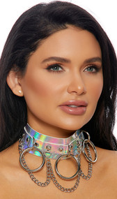 Studded hologram choker with silver chain and o ring detail. Adjustable buckle closure.