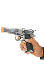 Silver plastic prop cap gun costume accessory. Working trigger.