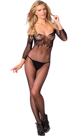 Seamless fishnet bodystocking with floral lace top, open crotch and mid-arm sleeves.