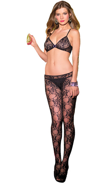 One piece sleeveless floral lace and fishnet bodystocking with bra like top and cut out front.