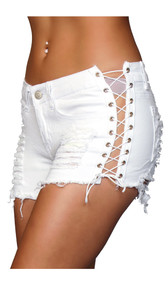Denim shorts with lace up side details, front and back pockets, belt loops and distressed details on front and back.  Button and zipper closure.