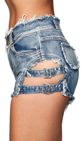 Denim shorts with adjustable buckle sides, frayed trim, front and back pockets, and belt loops. Button and zipper closure.
