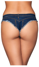 Low rise micro jean shorts feature a button fly front, belt loops, frayed trim, mini back pockets and cheeky cut back.