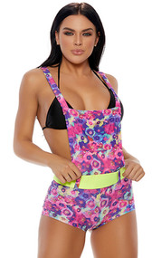 Electric daisy print overall shorts with functional pouch pocket, criss cross non-adjustable straps, closed crotch and matching detachable belt with hook and loop closure.