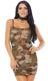 Camouflage print sheer mesh mini dress with spaghetti straps. Pull on slip style.