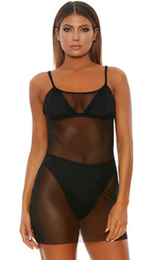 Sheer mesh mini dress with spaghetti straps. Pull on slip style.