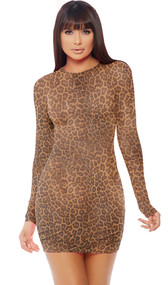 Leopard print sheer mesh mini dress with long sleeves. Pull on style.