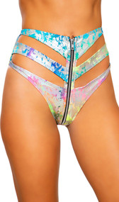 Metallic rainbow splash cut out shorts with high waist and front zipper closure.
