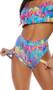 High waist, high cut shorts feature a colorful block print, cheeky cut back and thigh straps.