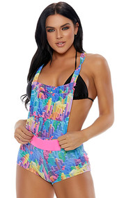 Block print overall shorts with functional pouch pocket, criss cross non-adjustable straps, closed crotch and matching detachable belt with hook and loop closure.