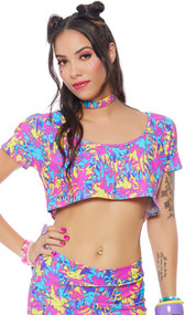 Palm tree print short sleeve cold shoulder crop top with crew neck.