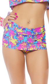 Colorful palm tree print mini skirt with built in shorts and cheeky cut back. Pull on style.
