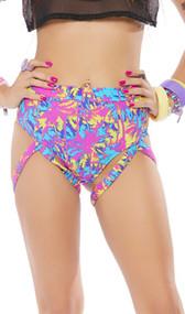 High waist, high cut shorts feature a colorful palm tree print, cheeky cut back and thigh straps.