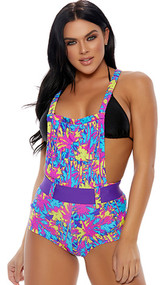 Colorful palm tree print overall shorts with functional pouch pocket, criss cross non-adjustable straps, closed crotch and matching detachable belt with hook and loop closure.