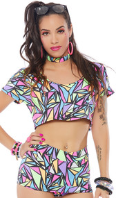 Geometric print short sleeve cold shoulder crop top with crew neck.