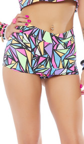 Geometric print mini skirt with built in shorts and cheeky cut back. Pull on style.