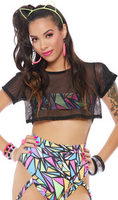 Short sleeve mesh crop top with crew neck and front geometric print band underneath to provide just enough coverage.