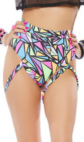 High waist, high cut shorts feature a geometric print, cheeky cut back and thigh straps.