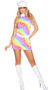 Lusty Hippie Child costume includes sleeveless mini dress with rainbow heart pattern and zipper back, hat (non-adjustable) and belt with heart buckle and hook and loop closure. Three piece set.