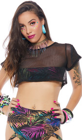 Short sleeve mesh crop top with crew neck and front palm tree print band underneath to provide just enough coverage.