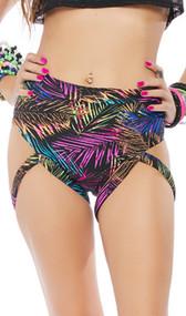 High waist, high cut shorts feature a tropical palm leaf print, cheeky cut back and thigh straps.
