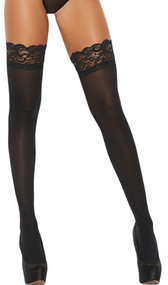 Stay up opaque thigh highs feature a silicone lace top to help keep them in place.