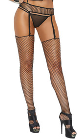 Fence net garter belt with adjustable garters and matching stockings.