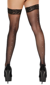 Stay up sheer thigh highs with rhinestone back seam and silicone lace top to help keep them in place.