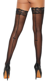 Stay up sheer thigh highs featuring back seam with mini printed bow and silicone lace top to help keep them in place.