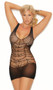 Crochet net mini dress features a sheer strappy net design, wide shoulder straps, scoop neck and back, and a plain sheer bottom.