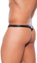 Men's wet look thong with sheer mesh panels for a peek a boo look. Wet look back.