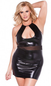 Wet look halter mini dress with low-cut keyhole neckline and sheer mesh waist insert. Neck loop ties behind the neck.